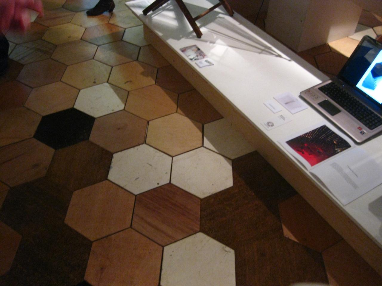 Coir & reclaimed timber hexagonal flooring tiles